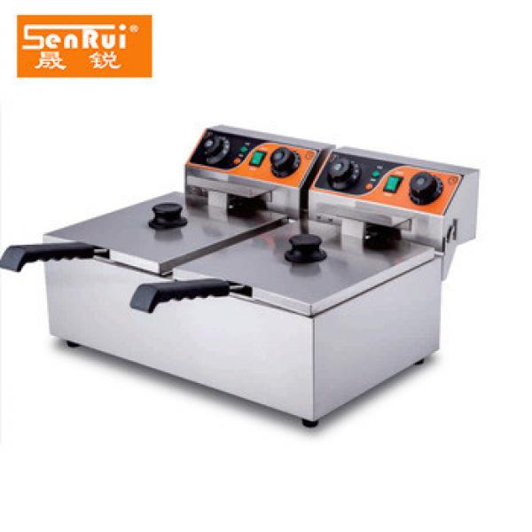 Cooking equipment Doubel 2 basket stainless steel Electric potato chips making machine with time limiter